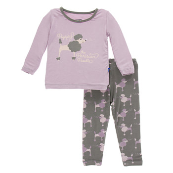 Print Long Sleeve Pajama Set in Cobblestone Poodle