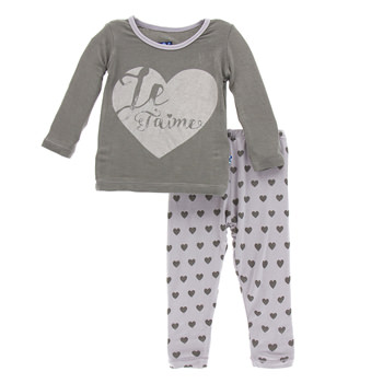 Print Long Sleeve Pajama Set in Feather Hearts