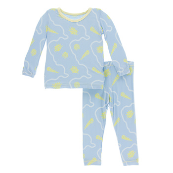 Print Long Sleeve Pajama Set in Pond Shells