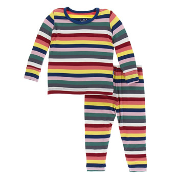 Print Long Sleeve Pajama Set in Bright London Stripe