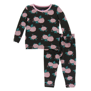 Print Long Sleeve Pajama Set in English Rose Garden