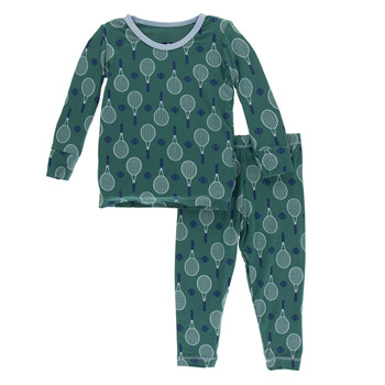 Print Long Sleeve Pajama Set in Ivy Tennis