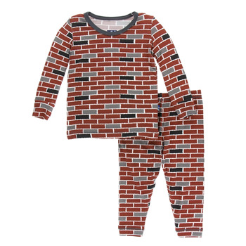 Print Long Sleeve Pajama Set in London Brick