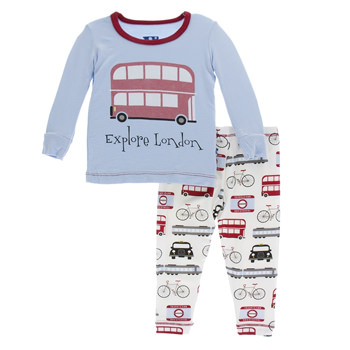 Print Long Sleeve Pajama Set in London Transport