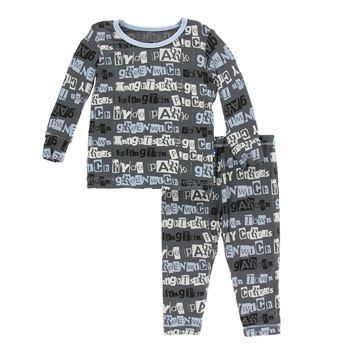 Print Long Sleeve Pajama Set in Stone London Towns