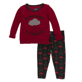 Print Long Sleeve Pajama Set in Umbrellas & Rain Clouds