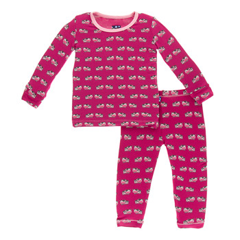 Print Long Sleeve Pajama Set in Berry Cow (full print)