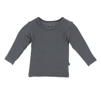 Solid Long Sleeve Tee in Stone