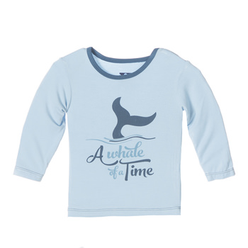 Long Sleeve Piece Print Tee in Pond Whale of a Time