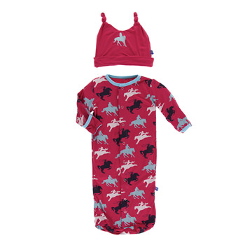 Layette Sack & Double Knot Hat in Flag Red Cowboy
