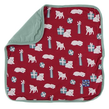 Print Bamboo Lovey in Crimson Puppies and Presents