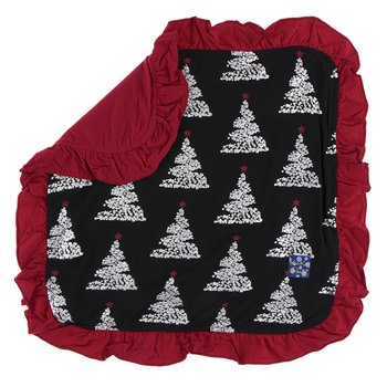 Print Ruffle Bamboo Lovey in Midnight Foil Tree