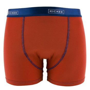 Solid Men's Boxer Brief in Poppy with Navy