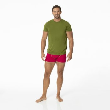 Solid Men's Boxer Brief in Rhododendron with Pesto