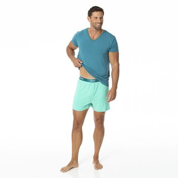 Solid Men's Boxer Shorts in Glass with Seagrass