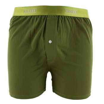Solid Men's Boxer Shorts in Pesto with Meadow