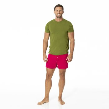 Solid Men's Boxer Short in Rhododendron with Pesto