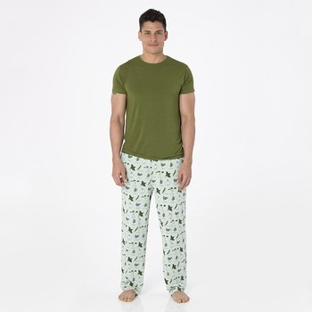 Men's Print Short Sleeve Pajama Set in Aloe Herbs