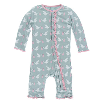 Print Muffin Ruffle Coverall in Jade Stork