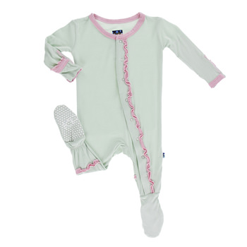 Solid Muffin Ruffle Footie in Aloe with Lotus Trim