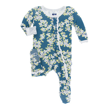 Print Muffin Ruffle Footie in Peacock Tree Canopy