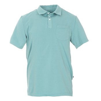 Men's Solid Short Sleeve Performance Jersey Polo in Glacier