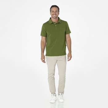 Men's Solid Short Sleeve Luxe Jersey Polo with Pocket in Pesto