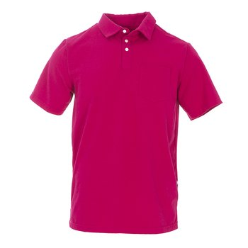 Men's Solid Short Sleeve Luxe Jersey Polo with Pocket in Rhododendron