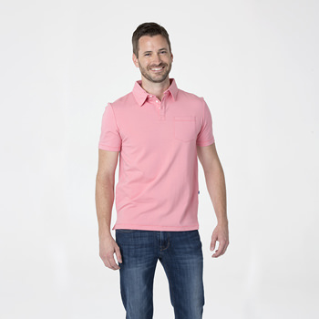 Men's Solid Short Sleeve Performance Jersey Polo in Strawberry