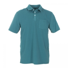 Men's Solid Short Sleeve Luxe Jersey Polo with Pocket in Seagrass