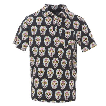 Men's Print Short Sleeve Performance Jersey Polo in Dia de los Muertos