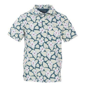 Men's Print Short Sleeve Luxe Jersey Polo with Pocket in Oasis Hibiscus