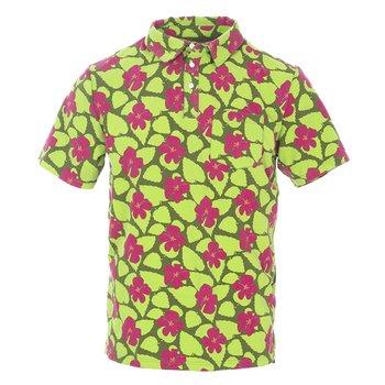 Men's Print Short Sleeve Luxe Jersey Polo with Pocket in Pesto Hibiscus