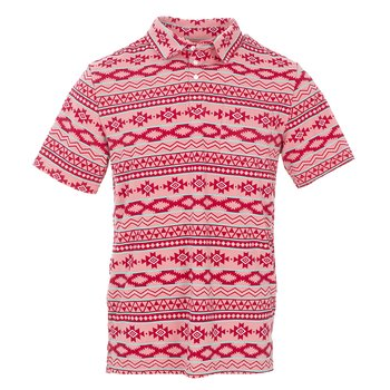 Men's Print Short Sleeve Performance Jersey Polo in Strawberry Mayan Pattern