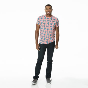 Men's Print Short Sleeve Tee in Strawberry Cactus