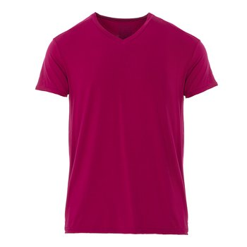 Men's Short Sleeve V-Neck Tee in Dragonfruit