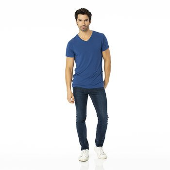 Men's Short Sleeve V-Neck Tee in Navy