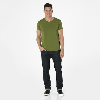Men's Short Sleeve V-Neck Tee in Pesto