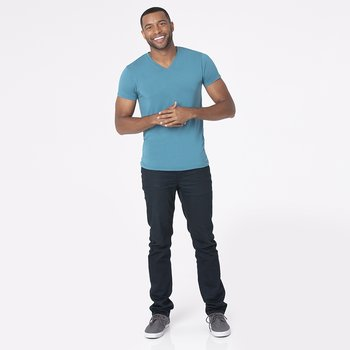 Men's Short Sleeve V-Neck Tee in Seagrass