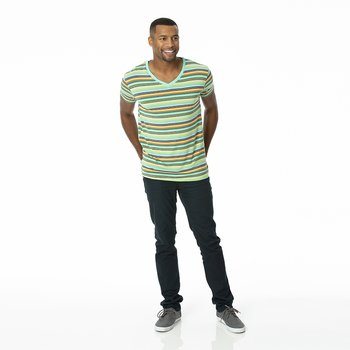 Men's Print Short Sleeve V-Neck Tee in Cancun Glass Stripe