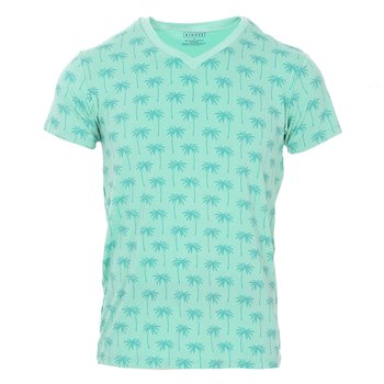 Men's Print Short Sleeve V-Neck Tee in Glass Palm Trees