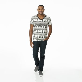 Men's Print Short Sleeve V-Neck Tee in Natural Mayan Pattern