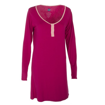 Solid Long Sleeve Night Shirt in Rhododendron with Blush Trim