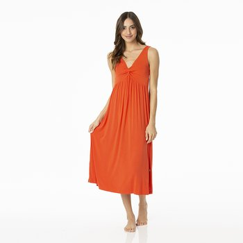 Solid Simple Twist Nightgown in Poppy
