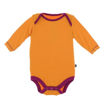 Solid Long Sleeve One Piece in Apricot with Dragonfruit Trim
