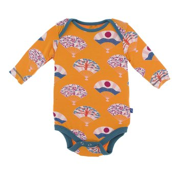 Print Long Sleeve One Piece in Apricot Fans
