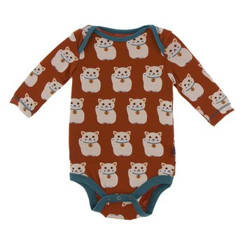 Print Long Sleeve One Piece in Lucky Cat