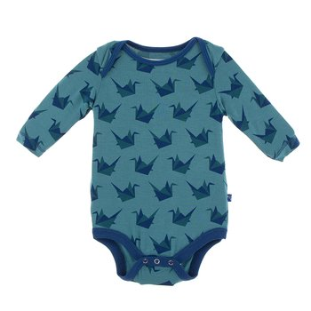Print Long Sleeve One Piece in Seagrass Origami Crane