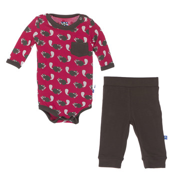 Print Long Sleeve One Piece and Pant Outfit Set in Crimson Busy Beaver