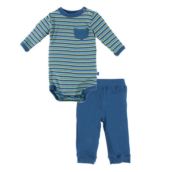Print Long Sleeve One Piece and Pant Outfit Set in Boy Anniversary Stripe